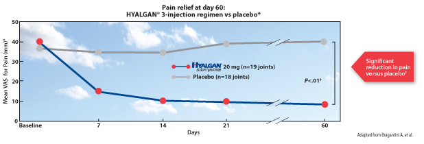 Pain Relief at day 60: Hyalgan 3-injection regimen vs placebo